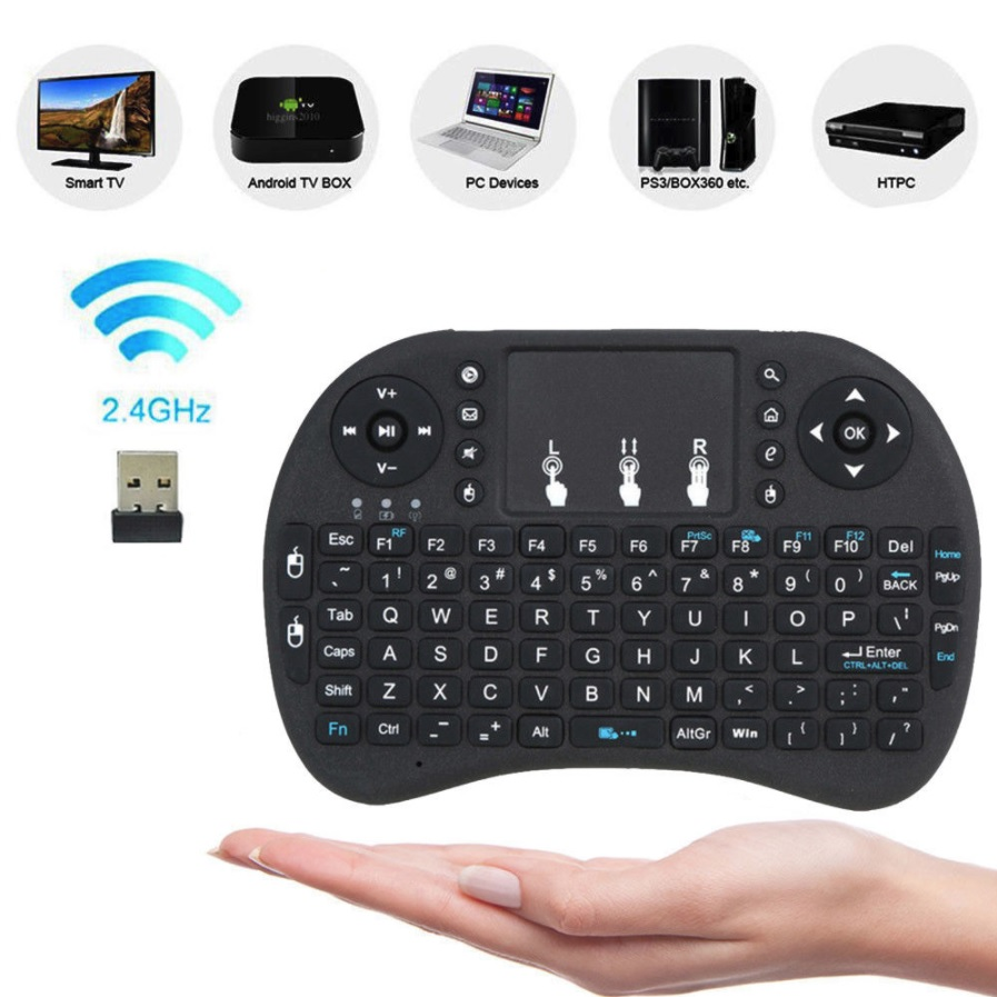 Mini Gaming Keyboard 2 4GHz USB Wireless TouchPad mouse for PC TV Box PS4  Kodi